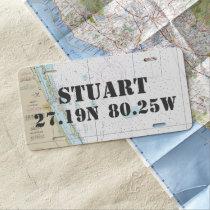 Downtown Stuart Nautical Latitude Longitude License Plate