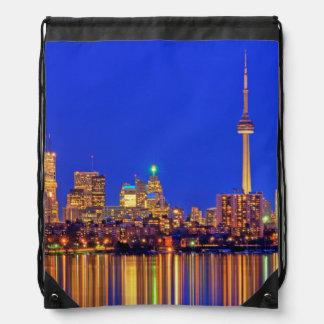 Downtown Toronto skyline at night Drawstring Backpack