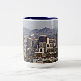 Downtown View of Phoenix, Arizona Two-Tone Coffee Mug