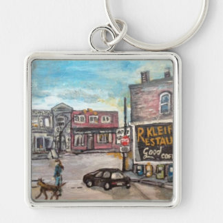 Downtown Willoughby, Dog Walk Painting Keychain