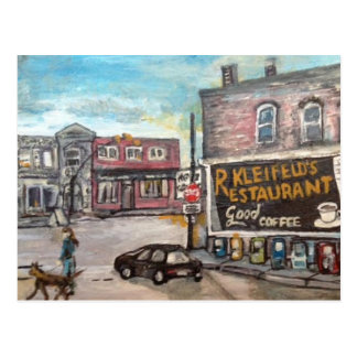 Downtown Willoughby, Dog Walk Painting Postcard