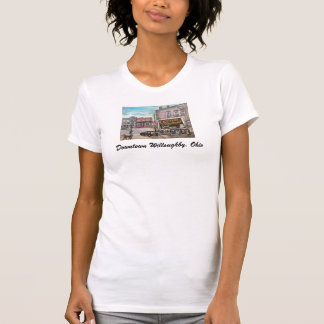 Downtown Willoughby,Ohio Dog Walk Ladies T Shirt