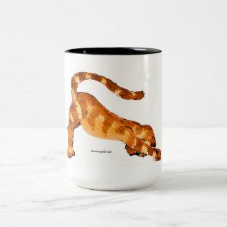 Downward Cat Mug-Original Art by SQ Streater Two-Tone Coffee Mug