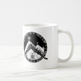 downward dog pyramids classic white coffee mug