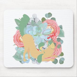 Downward Dog with Flowers Mouse Pad