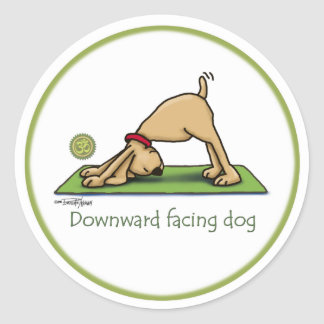 Downward Facing Dog Cartoon Classic Round Sticker