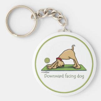 Downward Facing Dog Cartoon Keychain