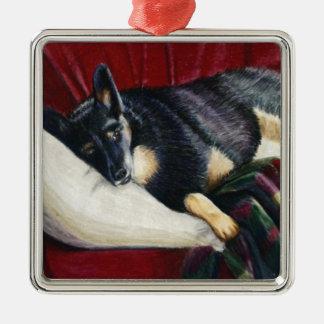 Downward Facing Dog Metal Ornament