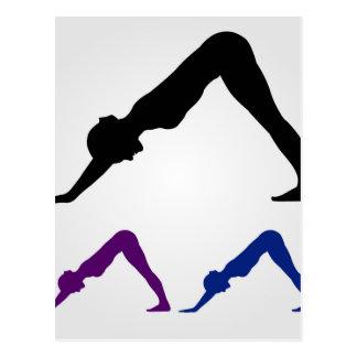 downward facing dog yoga pose postcard