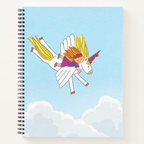 Downward Unicorn Spiral Notebook
