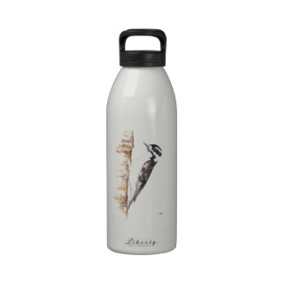 Downy Woodpecker black and white bird Reusable Water Bottle