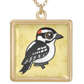 Downy Woodpecker Gold Plated Necklace