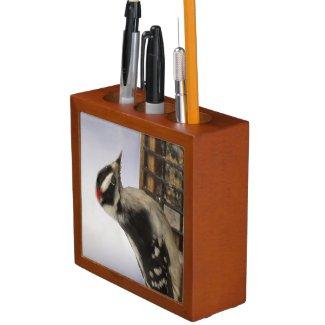 Downy Woodpecker Pencil Holder