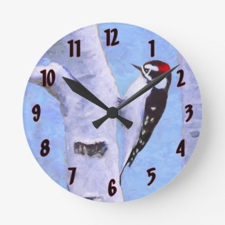 Downy Woodpecker Round Clock