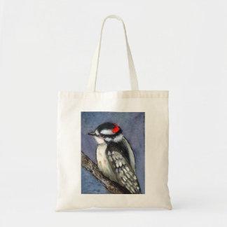 Downy Woodpecker Watercolor Tote Bag
