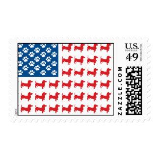 Doxie - bandera americana patriótica del Dachshund Estampillas