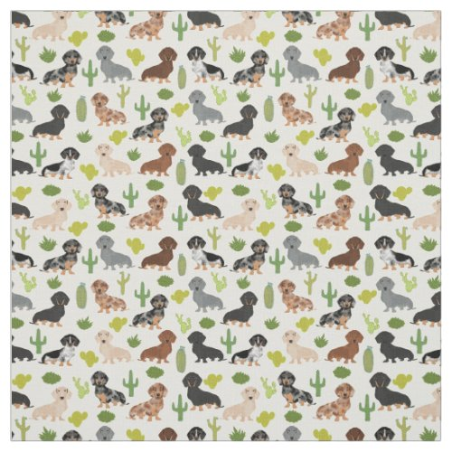Doxie Cactus Fabric _ cute dachshunds gift