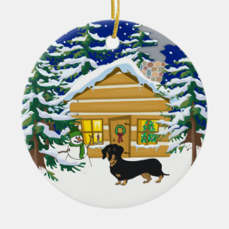 Doxie Christmas Log Cabin Ceramic Ornament