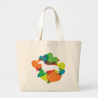 Doxie Colorful Heart Design Large Tote Bag