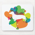 Doxie Colorful Heart Design Mouse Pad