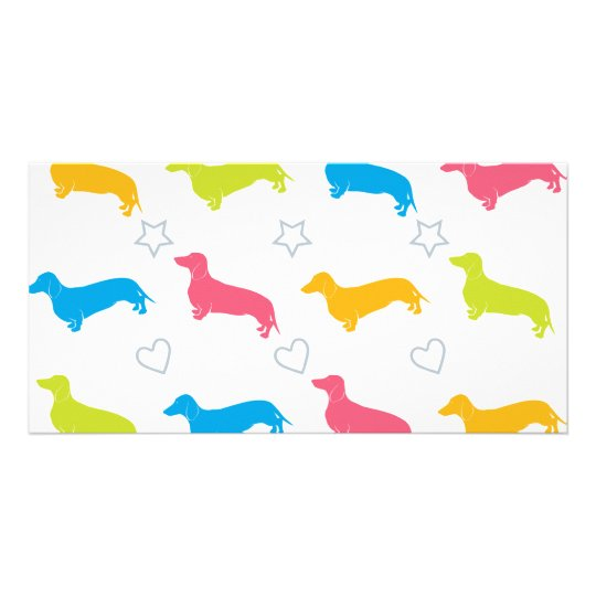 Doxie Colorful Hearts and Stars Card