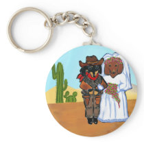 Doxie Cowboy Wedding Keychain