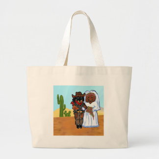 Doxie Cowboy Wedding Large Tote Bag