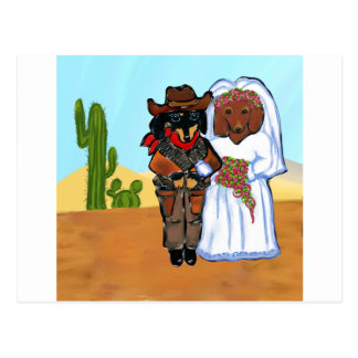 Doxie Cowboy Wedding Postcard