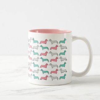 Doxie Dash - Pink Two-Tone Coffee Mug
