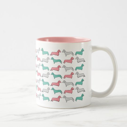 Doxie Dash - Pink Two-Tone Coffee Mug