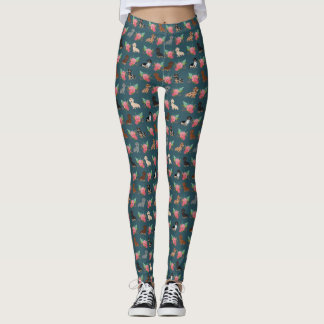 Doxie Floral leggings - dachshund florals