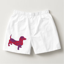 Doxie in Reniassance-Pattern Boxers