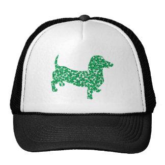Doxie in Shamrocks Trucker Hats