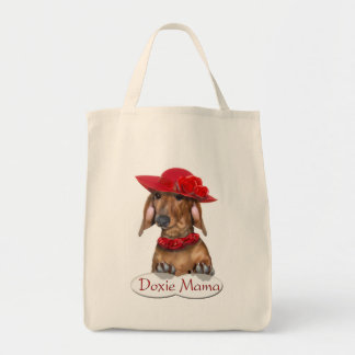 Doxie Lady in Red Shopping Bag