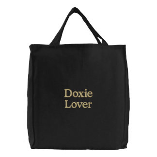 """""""Doxie Lover"""" Embroidered Tote Bag"""