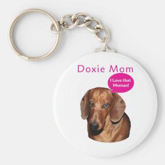 "Doxie Mom   ""I love that woman!"" Dachshund Basic Round Button Keychain"