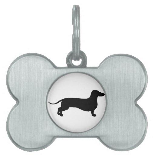 Doxie negro placas de nombre de mascota