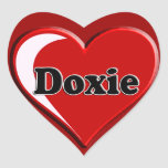 Doxie on Heart for dog lovers Heart Stickers