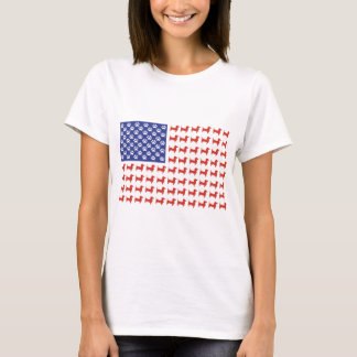 Doxie patriótico - bandera americana del Dachshund Playera