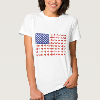 Doxie patriótico - bandera americana del Dachshund Polera