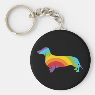 Doxie Rainbow Connection Basic Round Button Keychain