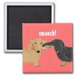Doxie Smooch 2 Inch Square Magnet