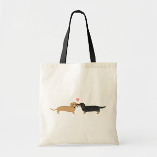 Doxie Smooch with Heart Tote Bag