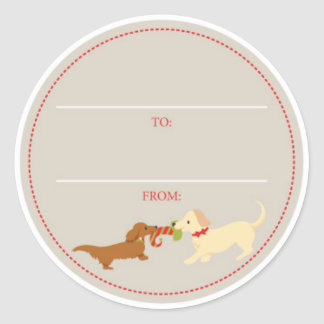 Doxie Tug-of-War Christmas Gift Tag Classic Round Sticker