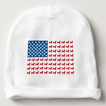 USA Themed Doxie-USA-FLAG-for-Darks Baby Beanie