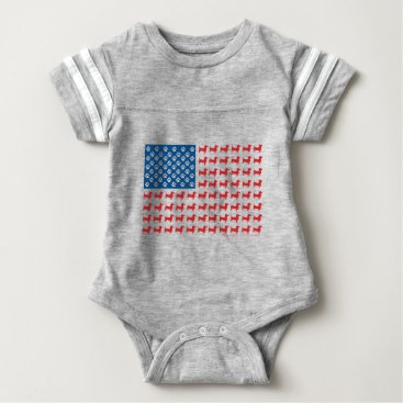 USA Themed Doxie-USA-FLAG-for-Darks Baby Bodysuit