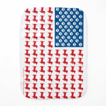 USA Themed Doxie-USA-FLAG-for-Darks Baby Burp Cloth
