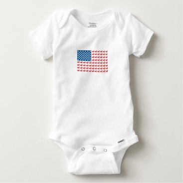 USA Themed Doxie-USA-FLAG-for-Darks Baby Onesie