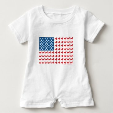 USA Themed Doxie-USA-FLAG-for-Darks Baby Romper