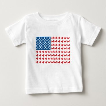USA Themed Doxie-USA-FLAG-for-Darks Baby T-Shirt